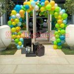 balon gate dekorasi hijau kuning