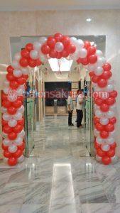 balon gate dekorasi merah purih